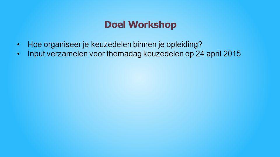Doel Workshop Hoe organiseer je keuzedelen binnen je opleiding? Input verzamelen voor themadag keuzedelen op 24 april 2015