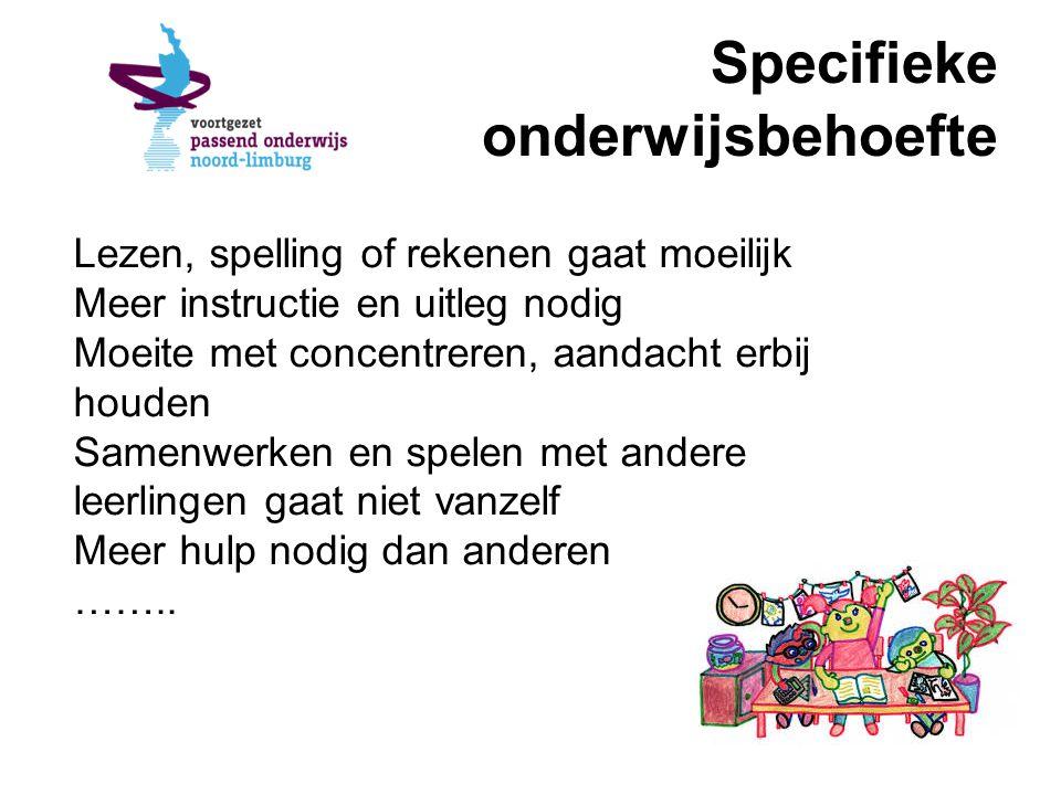 Specifieke onderwijsbehoefte Lezen, spelling of rekenen gaat moeilijk Meer instructie en uitleg nodig Moeite met concentreren, aandacht erbij houden S