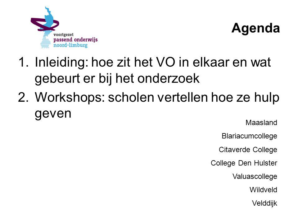 Agenda 1.Inleiding: hoe zit het VO in elkaar en wat gebeurt er bij het onderzoek 2.Workshops: scholen vertellen hoe ze hulp geven Maasland Blariacumcollege Citaverde College College Den Hulster Valuascollege Wildveld Velddijk
