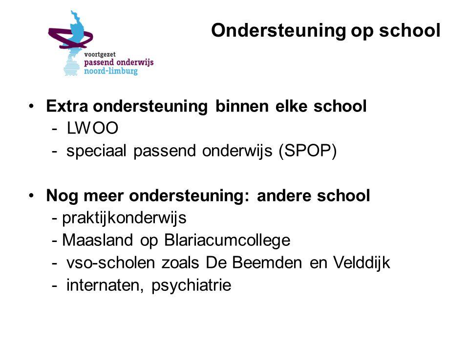 Ondersteuning op school Extra ondersteuning binnen elke school - LWOO -speciaal passend onderwijs (SPOP) Nog meer ondersteuning: andere school - praktijkonderwijs - Maasland op Blariacumcollege -vso-scholen zoals De Beemden en Velddijk -internaten, psychiatrie