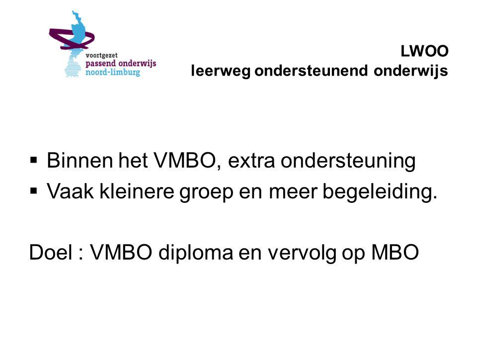 LWOO leerweg ondersteunend onderwijs  Binnen het VMBO, extra ondersteuning  Vaak kleinere groep en meer begeleiding. Doel : VMBO diploma en vervolg
