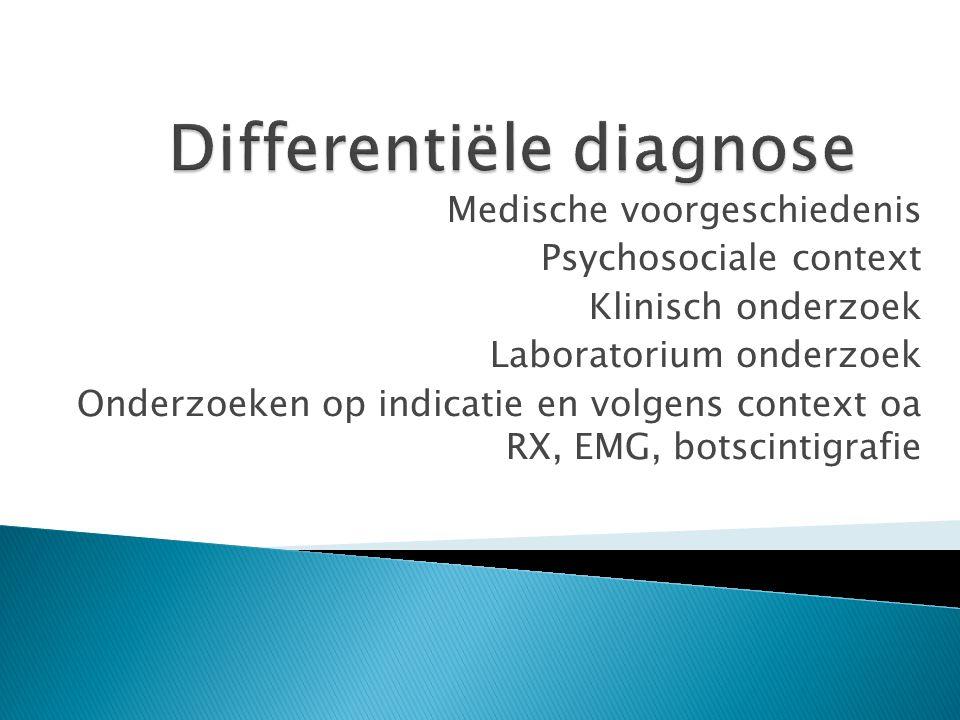 Medische voorgeschiedenis Psychosociale context Klinisch onderzoek Laboratorium onderzoek Onderzoeken op indicatie en volgens context oa RX, EMG, bots