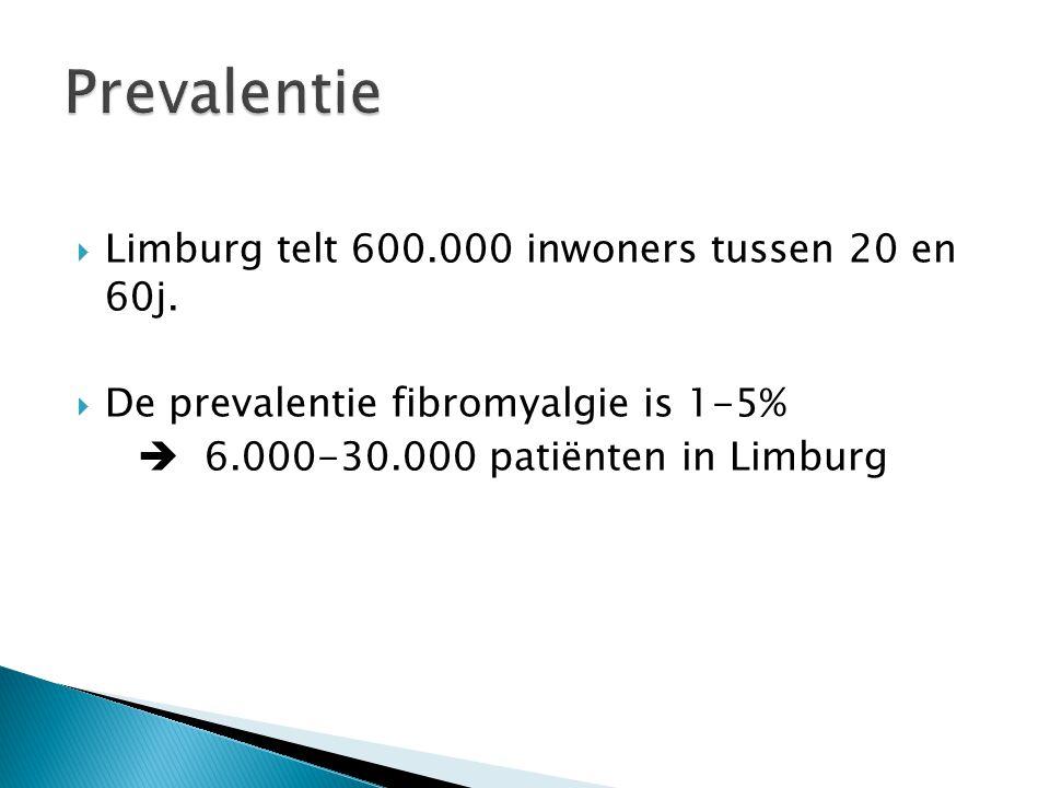  Limburg telt 600.000 inwoners tussen 20 en 60j.  De prevalentie fibromyalgie is 1-5%  6.000-30.000 patiënten in Limburg