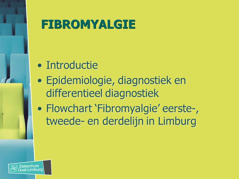 FIBROMYALGIE Introductie Epidemiologie, diagnostiek en differentieel diagnostiek Flowchart 'Fibromyalgie' eerste-, tweede- en derdelijn in Limburg Int