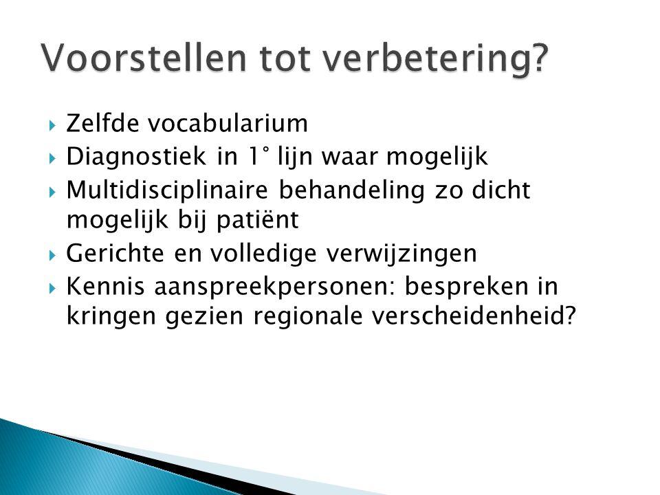  Zelfde vocabularium  Diagnostiek in 1° lijn waar mogelijk  Multidisciplinaire behandeling zo dicht mogelijk bij patiënt  Gerichte en volledige ve