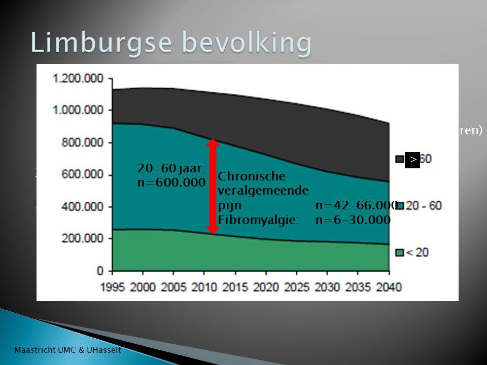 > Chronische veralgemeende pijn: n=42-66.000 Fibromyalgie: n=6-30.000 20-60 jaar: n=600.000 Leeftijd (jaren) Aantal inwoners Maastricht UMC & UHasselt