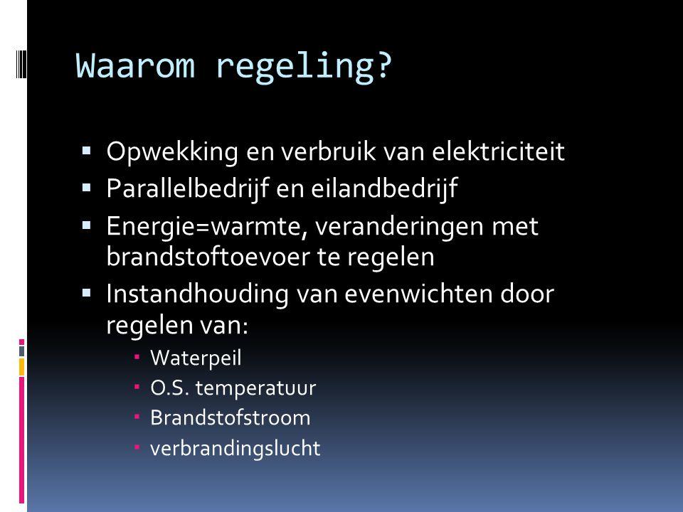 Waarom regeling?  Opwekking en verbruik van elektriciteit  Parallelbedrijf en eilandbedrijf  Energie=warmte, veranderingen met brandstoftoevoer te