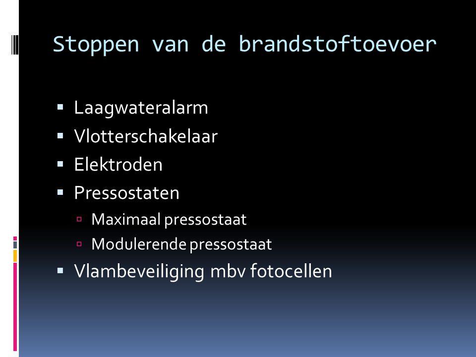Stoppen van de brandstoftoevoer  Laagwateralarm  Vlotterschakelaar  Elektroden  Pressostaten  Maximaal pressostaat  Modulerende pressostaat  Vlambeveiliging mbv fotocellen