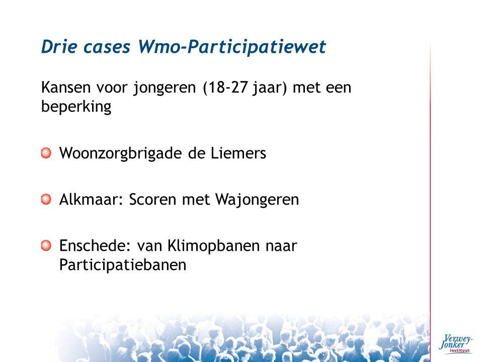 Drie cases Wmo-Participatiewet Kansen voor jongeren (18-27 jaar) met een beperking Woonzorgbrigade de Liemers Alkmaar: Scoren met Wajongeren Enschede: van Klimopbanen naar Participatiebanen
