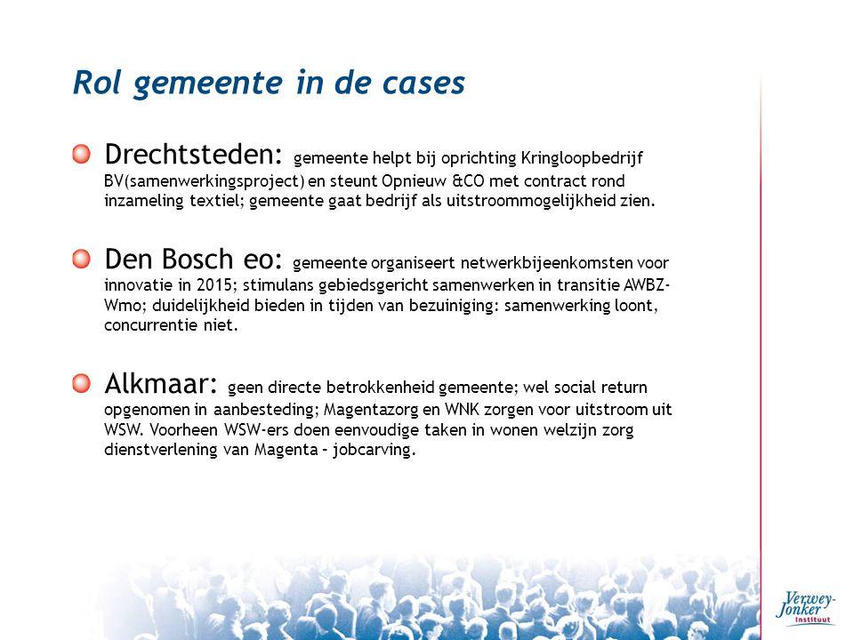 Rol gemeente in de cases Drechtsteden: gemeente helpt bij oprichting Kringloopbedrijf BV(samenwerkingsproject) en steunt Opnieuw &CO met contract rond inzameling textiel; gemeente gaat bedrijf als uitstroommogelijkheid zien.