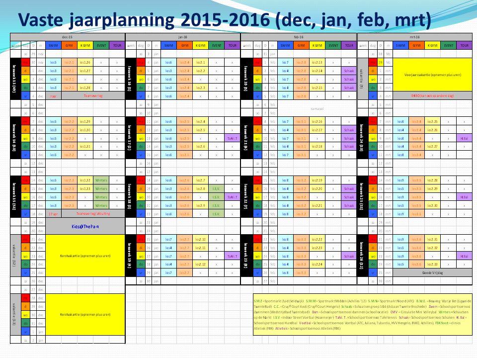 Vaste jaarplanning 2015-2016 (aug, sept, okt, nov)