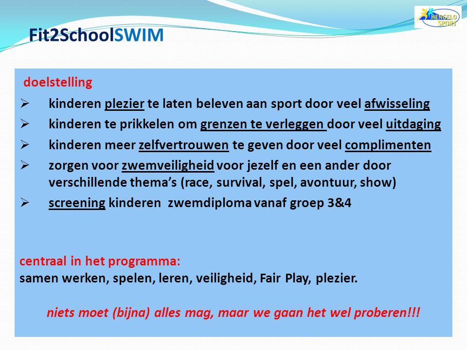 """Fit2SchoolSWIM wat is Fit2SchoolSWIM?  """"natte gymles"""" voor kinderen in het basis-, speciaal onderwijs voor wie is Fit2SchoolSWIM?  basisschool kinde"""