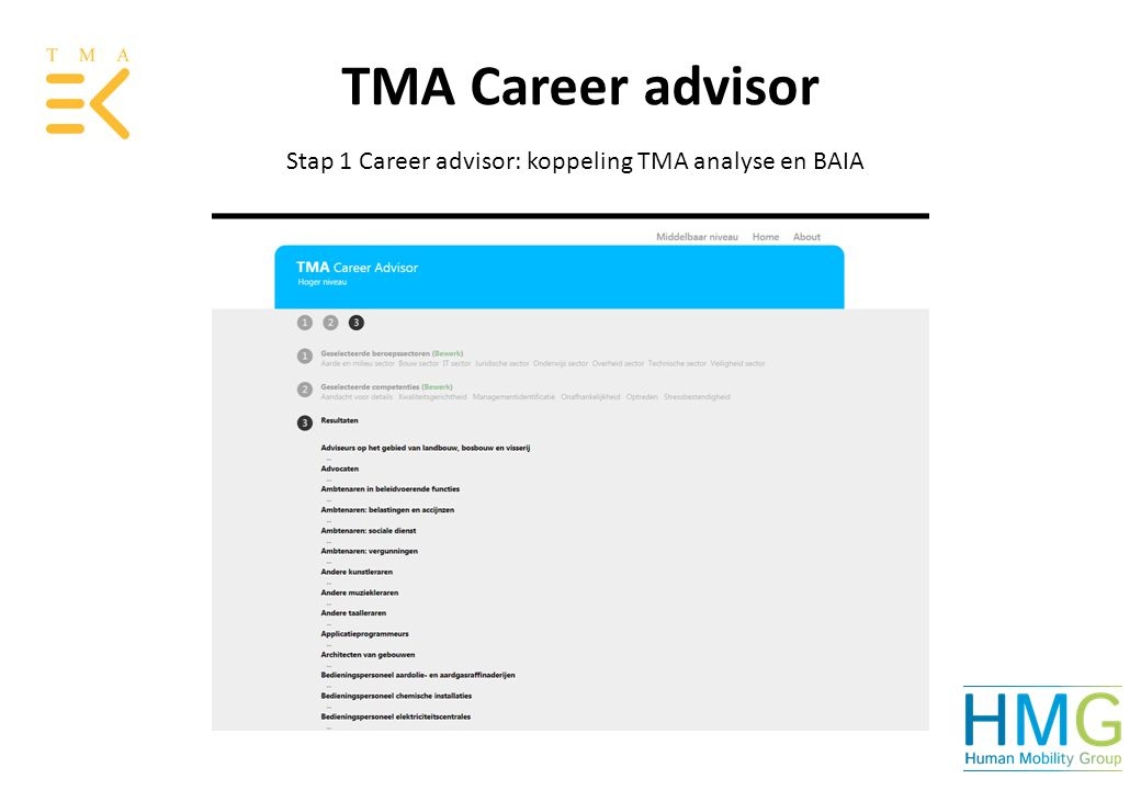 Stap 1 Career advisor: koppeling TMA analyse en BAIA TMA Career advisor