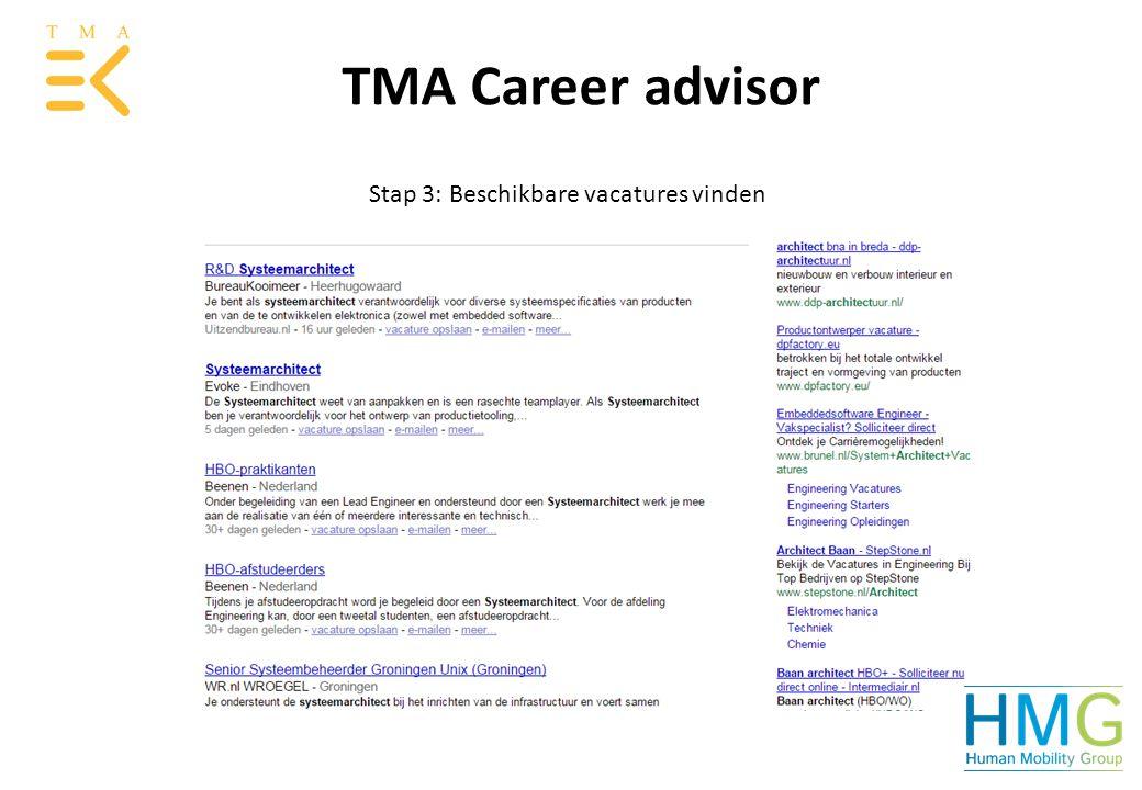Stap 3: Beschikbare vacatures vinden TMA Career advisor