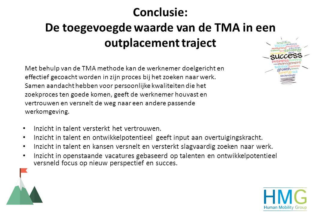 Conclusie: De toegevoegde waarde van de TMA in een outplacement traject Inzicht in talent versterkt het vertrouwen. Inzicht in talent en ontwikkelpote
