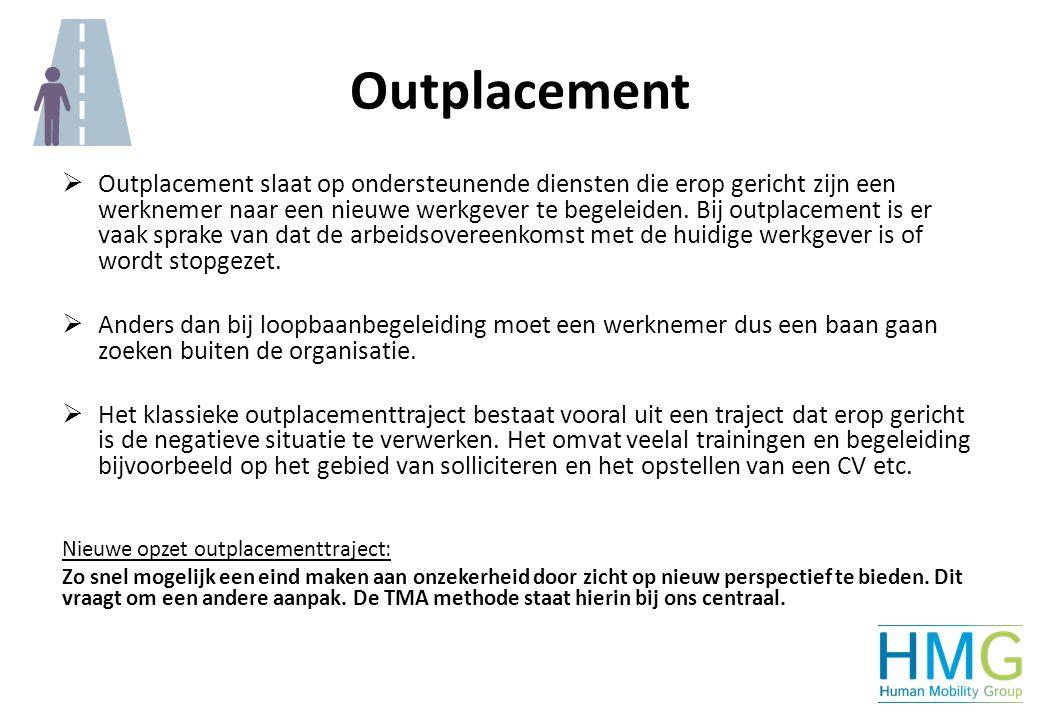 Outplacement  Outplacement slaat op ondersteunende diensten die erop gericht zijn een werknemer naar een nieuwe werkgever te begeleiden. Bij outplace