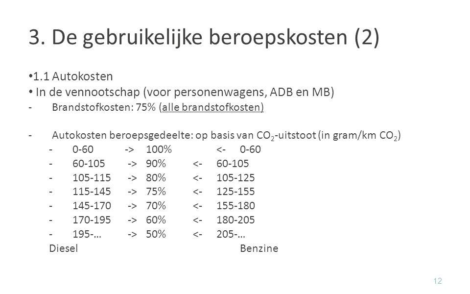 3. De gebruikelijke beroepskosten (2) 1.1Autokosten In de vennootschap (voor personenwagens, ADB en MB) -Brandstofkosten: 75% (alle brandstofkosten) -