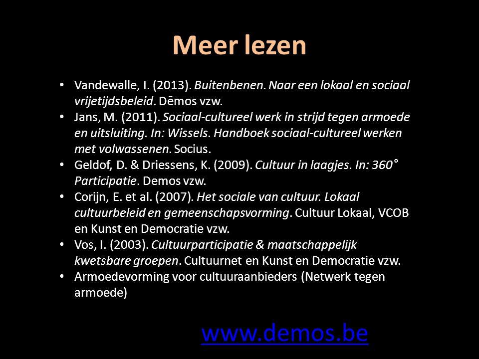 Meer lezen Vandewalle, I. (2013). Buitenbenen. Naar een lokaal en sociaal vrijetijdsbeleid.