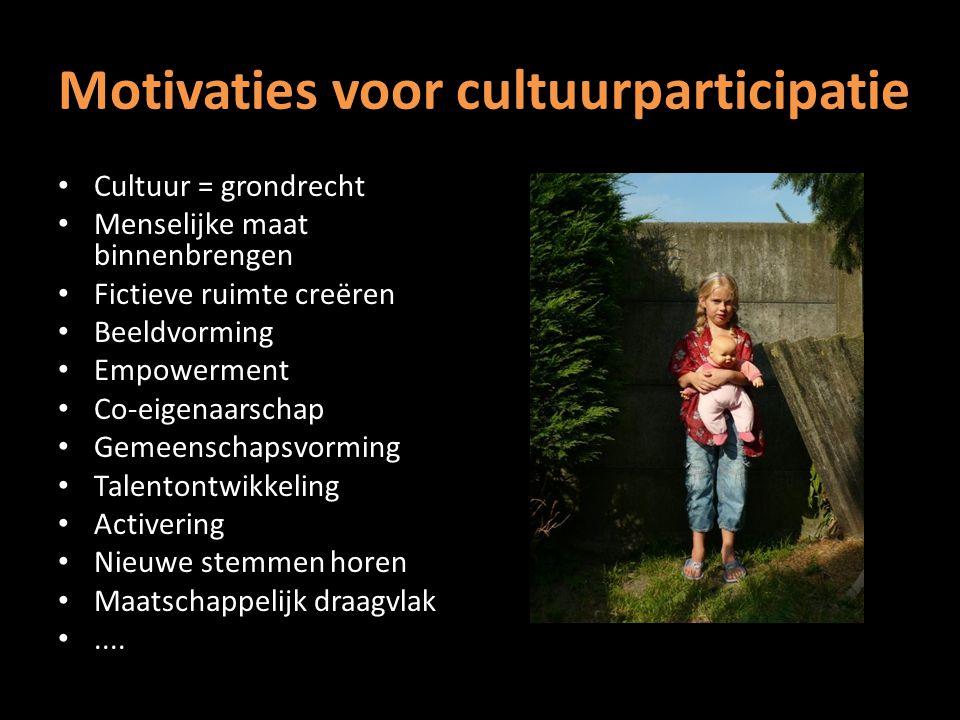 Motivaties voor cultuurparticipatie Cultuur = grondrecht Menselijke maat binnenbrengen Fictieve ruimte creëren Beeldvorming Empowerment Co-eigenaarschap Gemeenschapsvorming Talentontwikkeling Activering Nieuwe stemmen horen Maatschappelijk draagvlak....