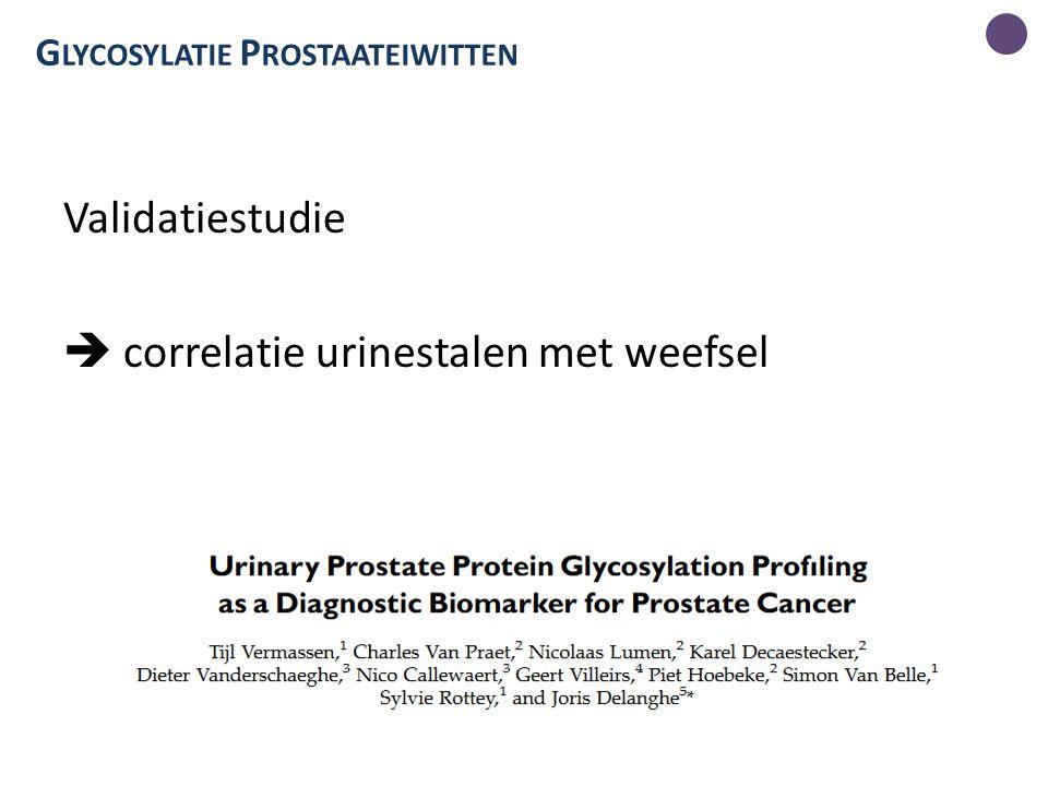 G LYCOSYLATIE P ROSTAATEIWITTEN Validatiestudie  correlatie urinestalen met weefsel