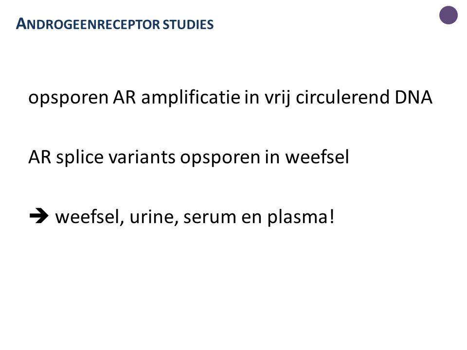 opsporen AR amplificatie in vrij circulerend DNA AR splice variants opsporen in weefsel  weefsel, urine, serum en plasma.