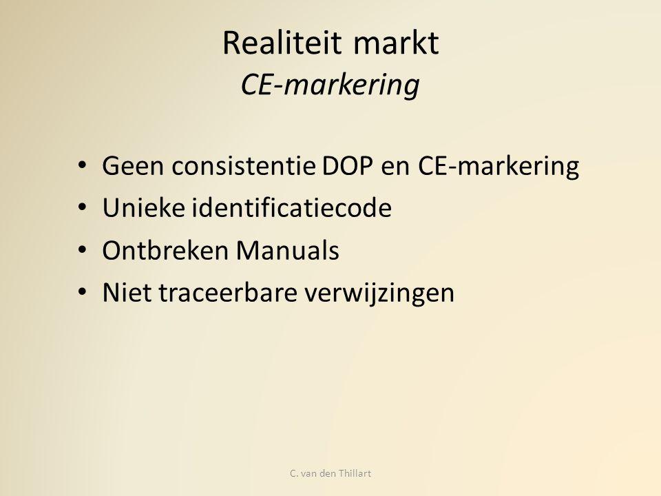 Realiteit markt CE-markering Geen consistentie DOP en CE-markering Unieke identificatiecode Ontbreken Manuals Niet traceerbare verwijzingen C. van den