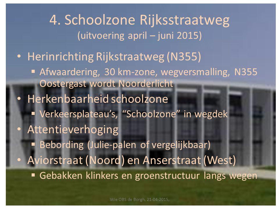 4. Schoolzone Rijksstraatweg (uitvoering april – juni 2015) Herinrichting Rijkstraatweg (N355)  Afwaardering, 30 km-zone, wegversmalling, N355 Ooster
