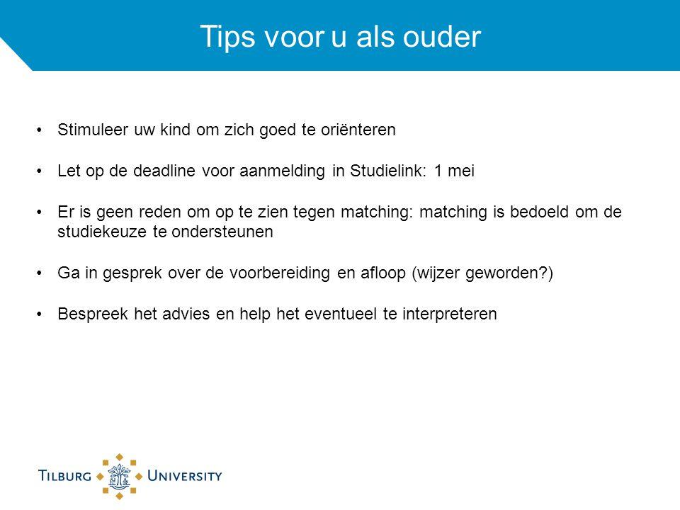 Tips voor u als ouder Stimuleer uw kind om zich goed te oriënteren Let op de deadline voor aanmelding in Studielink: 1 mei Er is geen reden om op te z