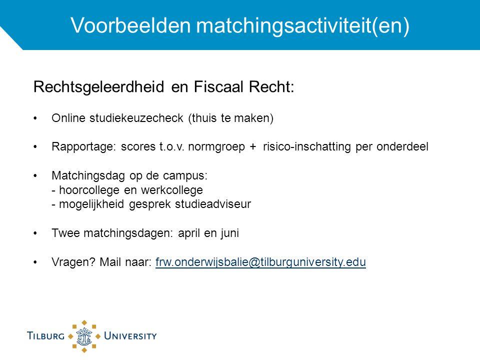 Voorbeelden matchingsactiviteit(en) Rechtsgeleerdheid en Fiscaal Recht: Online studiekeuzecheck (thuis te maken) Rapportage: scores t.o.v.