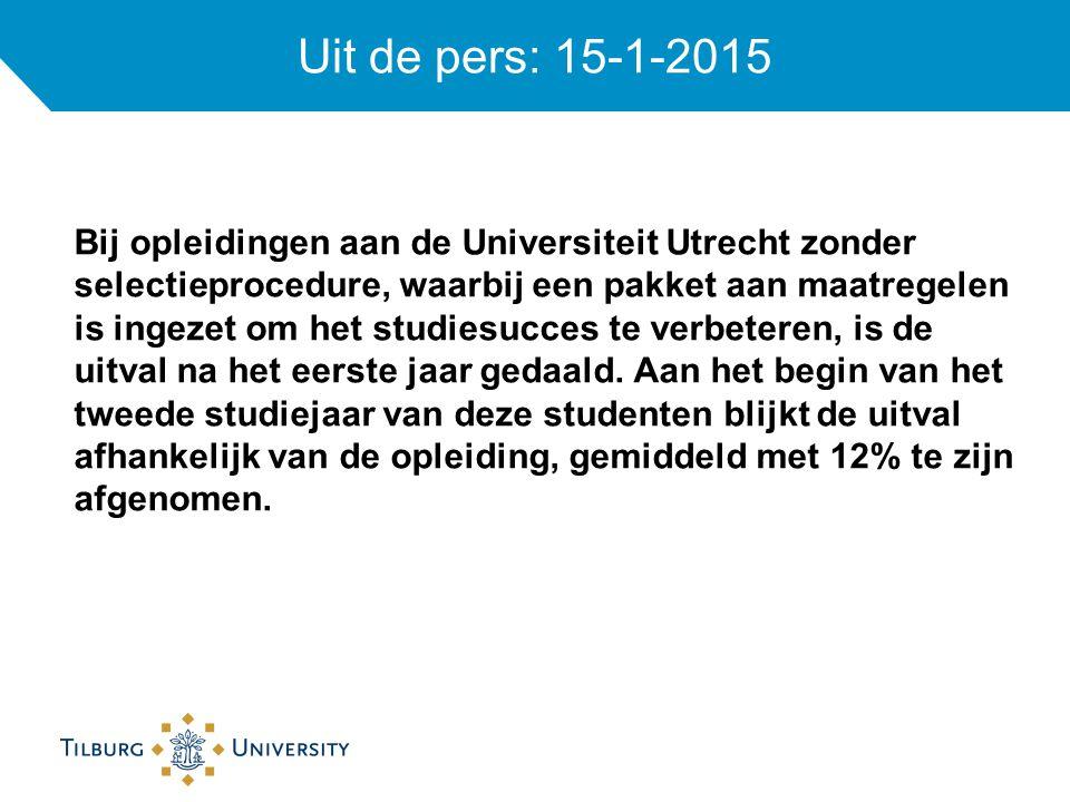 Uit de pers: 15-1-2015 Bij opleidingen aan de Universiteit Utrecht zonder selectieprocedure, waarbij een pakket aan maatregelen is ingezet om het studiesucces te verbeteren, is de uitval na het eerste jaar gedaald.