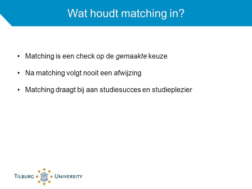 Wat houdt matching in? Matching is een check op de gemaakte keuze Na matching volgt nooit een afwijzing Matching draagt bij aan studiesucces en studie