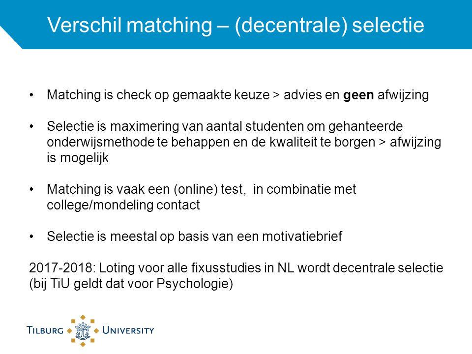 Verschil matching – (decentrale) selectie Matching is check op gemaakte keuze > advies en geen afwijzing Selectie is maximering van aantal studenten om gehanteerde onderwijsmethode te behappen en de kwaliteit te borgen > afwijzing is mogelijk Matching is vaak een (online) test, in combinatie met college/mondeling contact Selectie is meestal op basis van een motivatiebrief 2017-2018: Loting voor alle fixusstudies in NL wordt decentrale selectie (bij TiU geldt dat voor Psychologie)