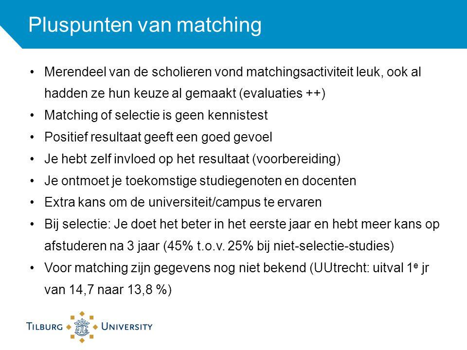 Pluspunten van matching Merendeel van de scholieren vond matchingsactiviteit leuk, ook al hadden ze hun keuze al gemaakt (evaluaties ++) Matching of s