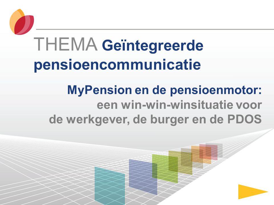 MyPension en de pensioenmotor: een win-win-winsituatie voor de werkgever, de burger en de PDOS THEMA Geïntegreerde pensioencommunicatie
