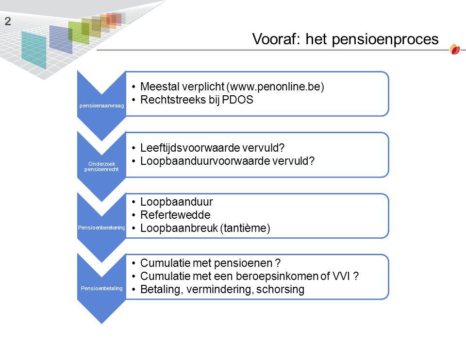 Vooraf: het pensioenproces 2 pensioenaanvraag Meestal verplicht (www.penonline.be) Rechtstreeks bij PDOS Onderzoek pensioenrecht Leeftijdsvoorwaarde v