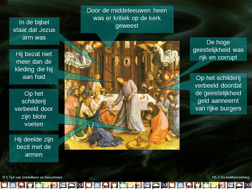 H5 De tijd van ontdekkers en hervormersH5.3 De kerkhervorming In het kasteel in Eisenach vertaalt Luther de bijbel zodat iedereen hem kan lezen In 1520 dreigt de paus Luther uit de kerk te zetten als hij zijn ideeën niet herroept Luther verbrandt de pauselijke bul demonstratief Keizer Karel V probeert een kerkscheuring te voorkomen door Luther nog een kans te geven om zijn woorden te herroepen Luther weigert en wordt vogelvrij verklaard en krijgt bescherming van Frederik III van Saksen