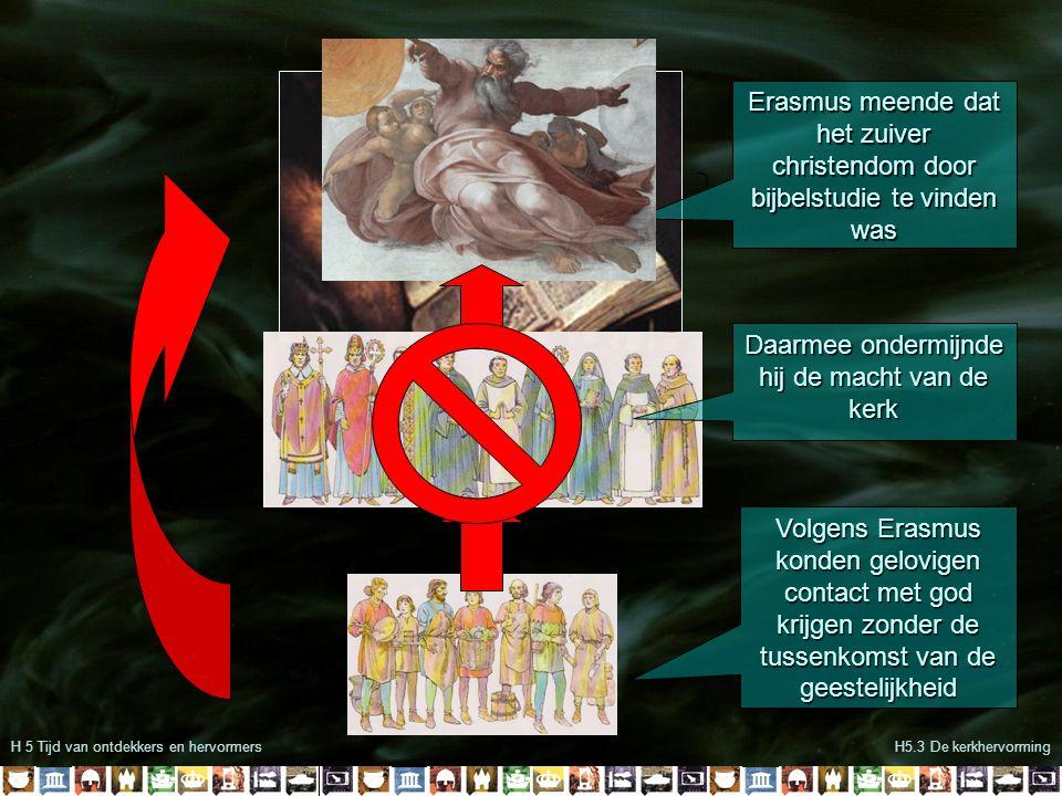 H 5 Tijd van ontdekkers en hervormersH5.3 De kerkhervorming Erasmus meende dat het zuiver christendom door bijbelstudie te vinden was Volgens Erasmus