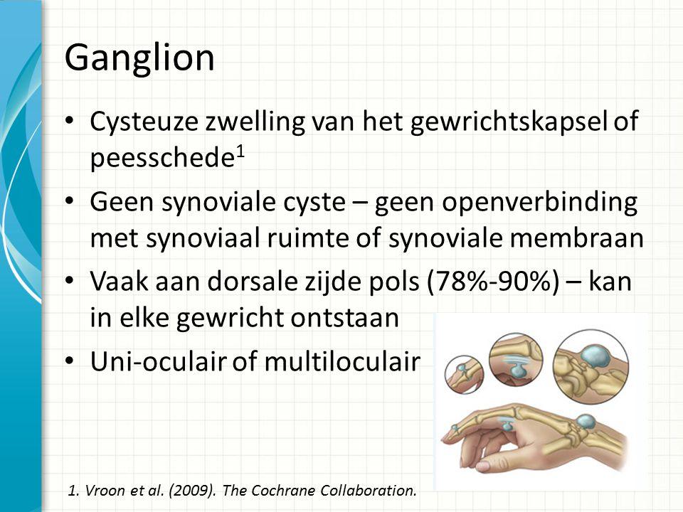Ganglion Cysteuze zwelling van het gewrichtskapsel of peesschede 1 Geen synoviale cyste – geen openverbinding met synoviaal ruimte of synoviale membraan Vaak aan dorsale zijde pols (78%-90%) – kan in elke gewricht ontstaan Uni-oculair of multiloculair 1.