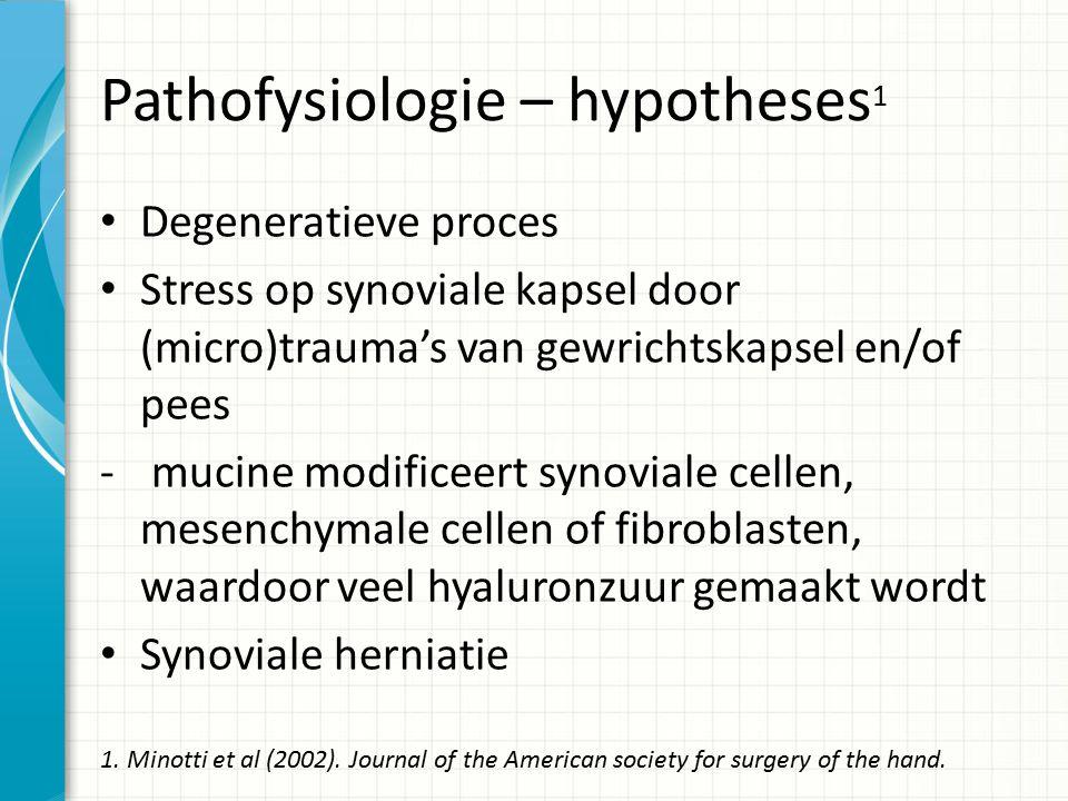 Pathofysiologie – hypotheses 1 Degeneratieve proces Stress op synoviale kapsel door (micro)trauma's van gewrichtskapsel en/of pees - mucine modificeert synoviale cellen, mesenchymale cellen of fibroblasten, waardoor veel hyaluronzuur gemaakt wordt Synoviale herniatie 1.