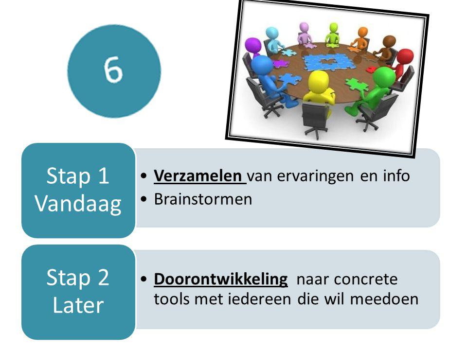 Verzamelen van ervaringen en info Brainstormen Stap 1 Vandaag Doorontwikkeling naar concrete tools met iedereen die wil meedoen Stap 2 Later