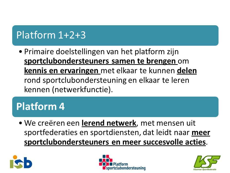 Platform 1+2+3 Primaire doelstellingen van het platform zijn sportclubondersteuners samen te brengen om kennis en ervaringen met elkaar te kunnen delen rond sportclubondersteuning en elkaar te leren kennen (netwerkfunctie).