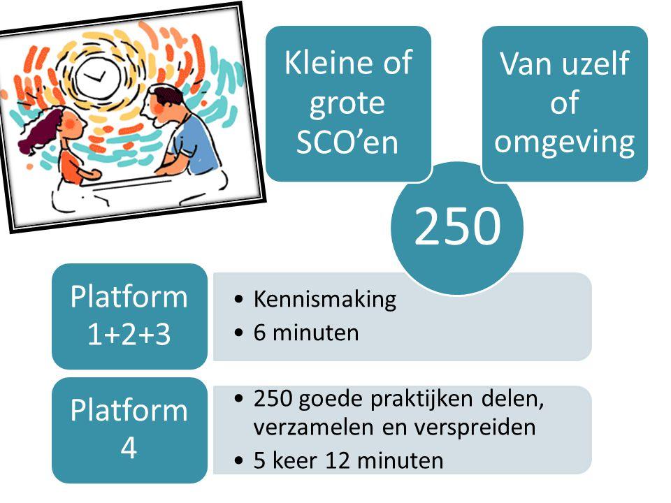 Kennismaking 6 minuten Platform 1+2+3 250 goede praktijken delen, verzamelen en verspreiden 5 keer 12 minuten Platform 4 250 Kleine of grote SCO'en Va