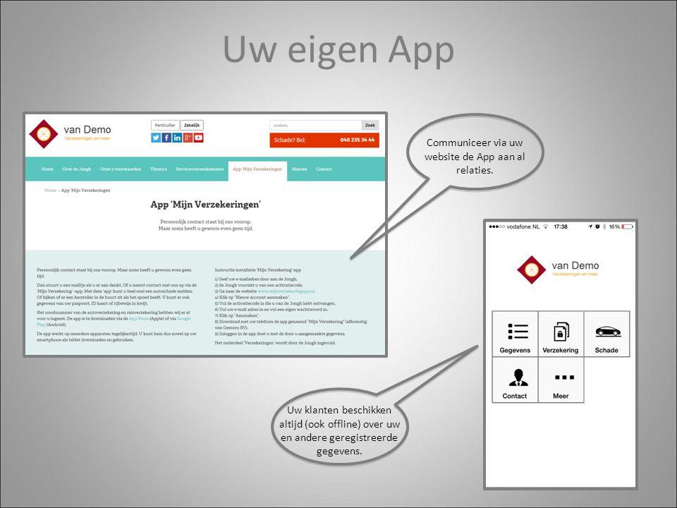 Uw eigen App Communiceer via uw website de App aan al relaties.