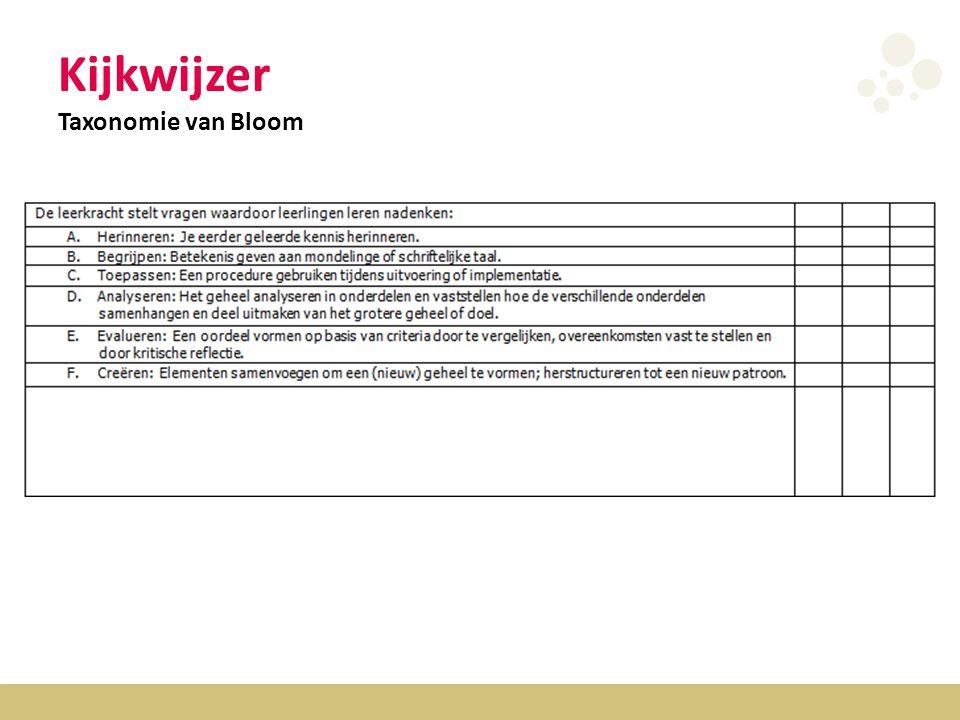 Kijkwijzer Taxonomie van Bloom