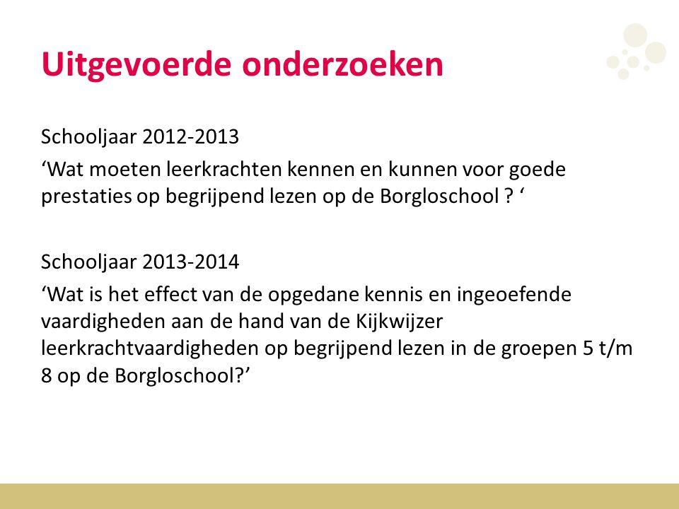 Uitgevoerde onderzoeken Schooljaar 2012-2013 'Wat moeten leerkrachten kennen en kunnen voor goede prestaties op begrijpend lezen op de Borgloschool .