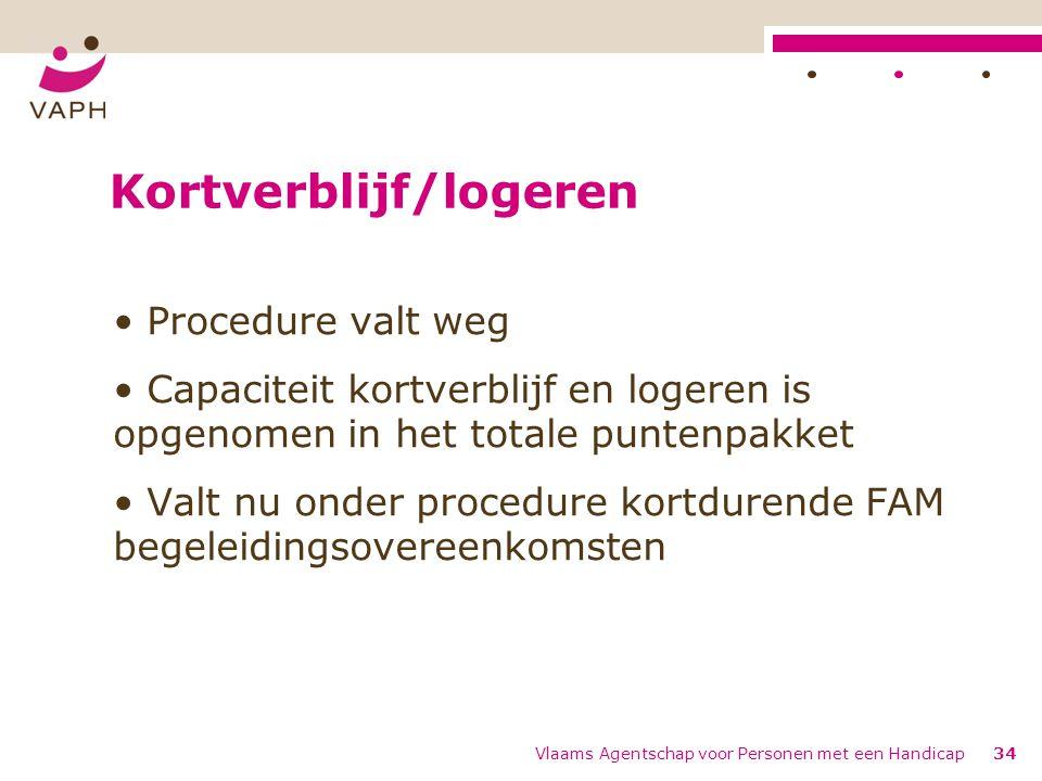 Kortverblijf/logeren Procedure valt weg Capaciteit kortverblijf en logeren is opgenomen in het totale puntenpakket Valt nu onder procedure kortdurende FAM begeleidingsovereenkomsten Vlaams Agentschap voor Personen met een Handicap34