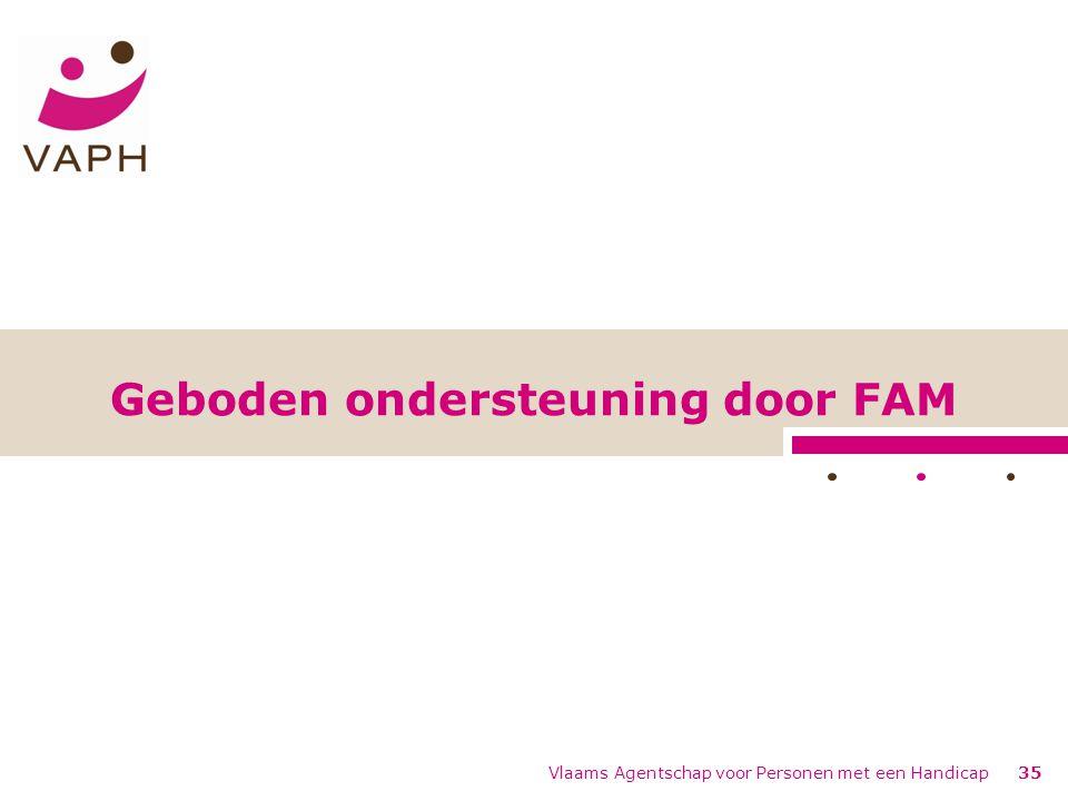 Vlaams Agentschap voor Personen met een Handicap35 Geboden ondersteuning door FAM