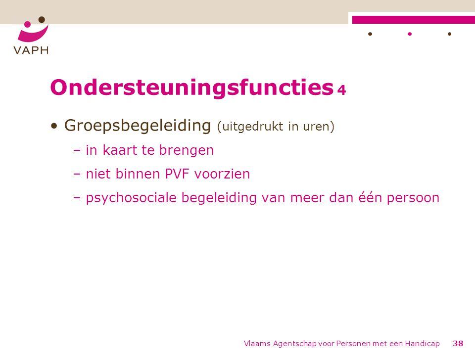 Ondersteuningsfuncties 4 Groepsbegeleiding (uitgedrukt in uren) – in kaart te brengen – niet binnen PVF voorzien – psychosociale begeleiding van meer dan één persoon Vlaams Agentschap voor Personen met een Handicap38