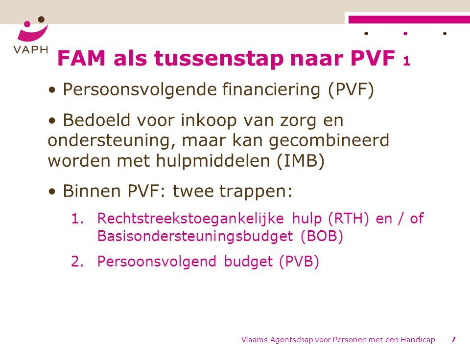 FAM-categorieën 4 FAM intensieve woonondersteuning – Individuele ondersteuning: aantal onbeperkt – Dag- en woonondersteuning met verblijfsfunctie (inclusief of residentieel, ondersteuning is moeilijk individueel toewijsbaar, begeleiding en permanentie) –uitgedrukt in nachten, inclusief ochtend- en avondopvang Vlaams Agentschap voor Personen met een Handicap28