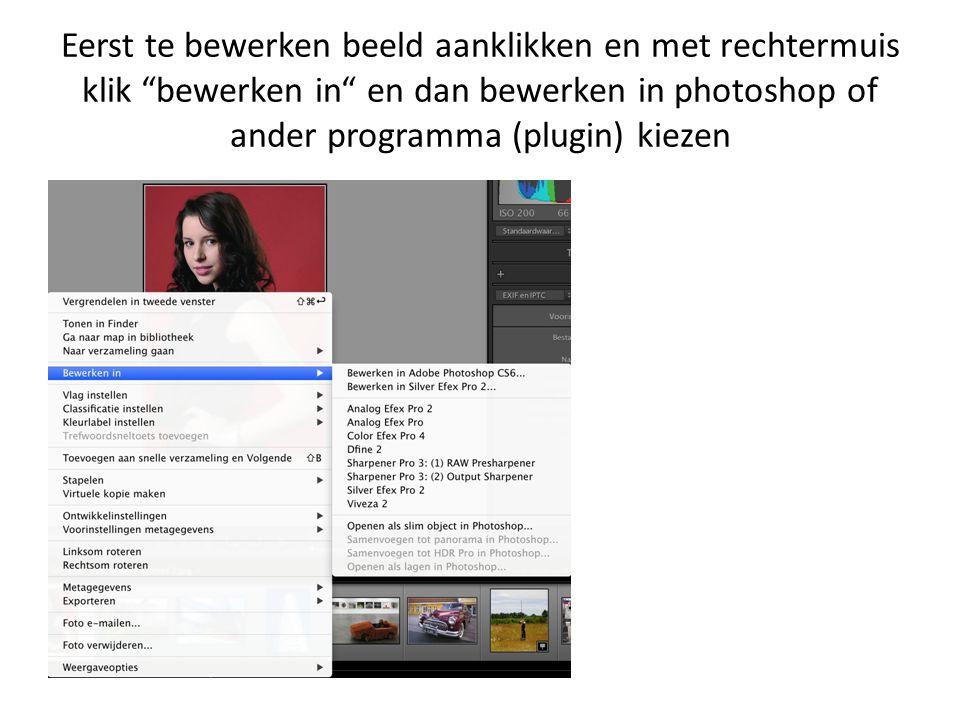 """Eerst te bewerken beeld aanklikken en met rechtermuis klik """"bewerken in"""" en dan bewerken in photoshop of ander programma (plugin) kiezen"""